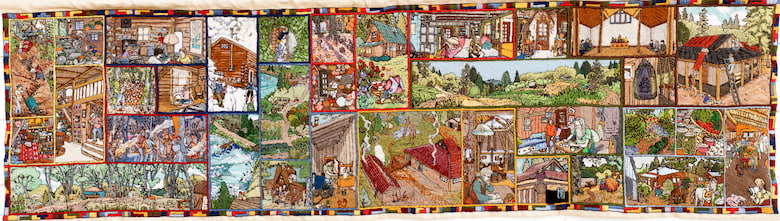 A tapestry depicting images of different houses and gardening.